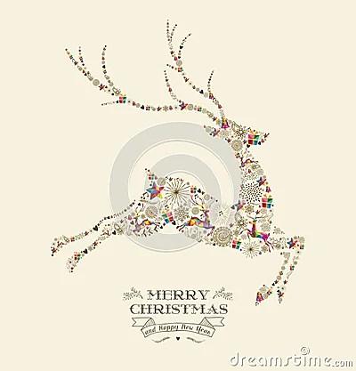 Merry Christmas Vintage Reindeer Greeting Card Stock
