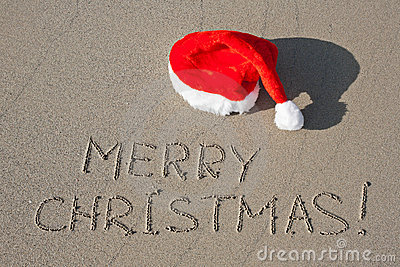 Merry Christmas Written On Sand Royalty Free Stock Image
