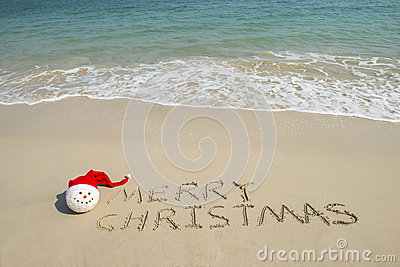 Merry Christmas Written On Tropical Beach White Sand With