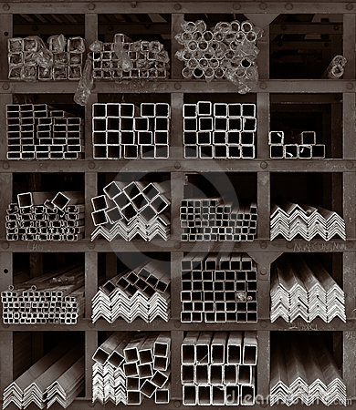 Metal Rods Storage Shelves Stock Photo  Image 8501380