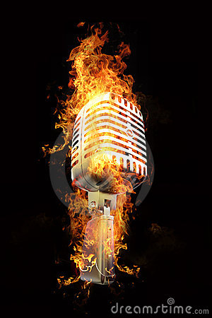 Microphone In Flames Royalty Free Stock Photos  Image