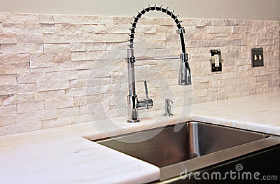 kitchen sink with backsplash 13 gallon trash can modern detail stock photo - image: 40079728