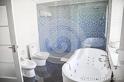 Modern Sauber Badezimmer Mit Toilette Wanne Dusche Und Badewanne Lizenzfreie Stockbilder