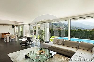 Modern Villa Beautiful Interiors Royalty Free Stock Photo