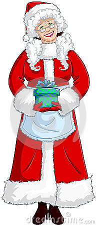 Mrs Santa Claus Holding A Present For Christmas Royalty