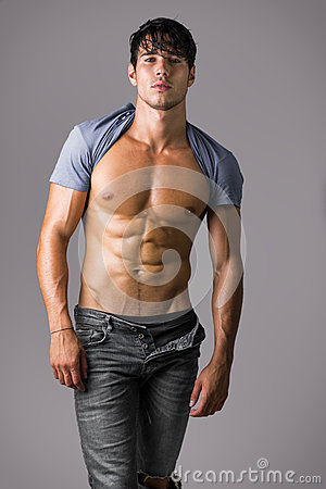 Naked Muscular Man Wearing Only Jeans Stock Photo  Image 78950681