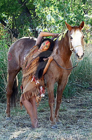 Native American And Her Horse Stock Images  Image 21221314