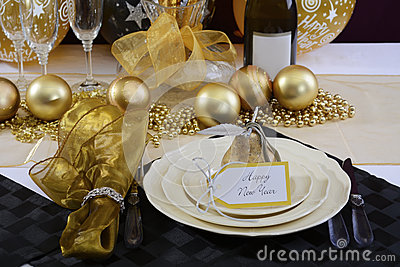 New Years Eve Dinner Table Setting Stock Photo Image