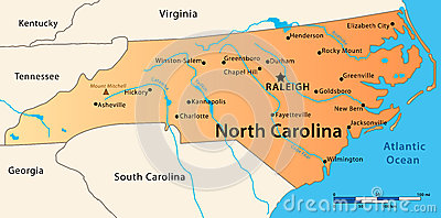 North Carolina Map Stock Photography Image 36422152