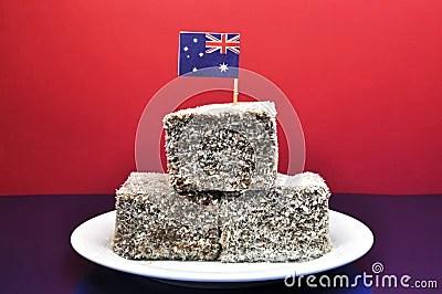 Nourriture Australienne Traditionnelle Lamingtons Avec