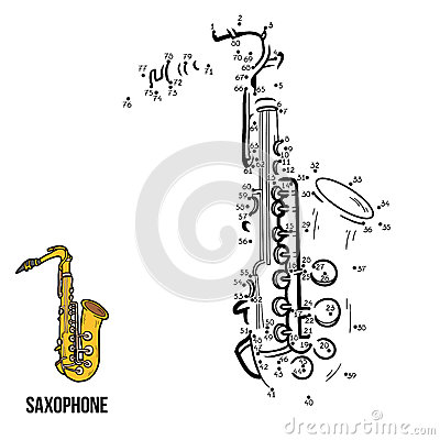 Numbers Game: Musical Instruments (saxophone) Vector