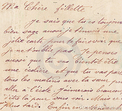 Old French Handwriting Stock Photos  Image 3288483