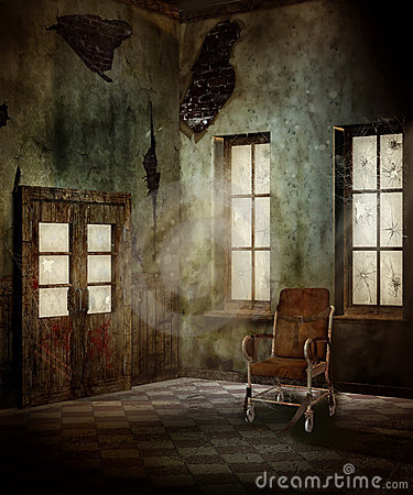 Old Room With A Wheelchair Royalty Free Stock Photo