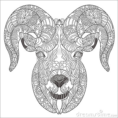 Ornamental head of goat or ram