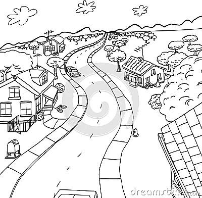Outline Cartoon Of Homes In Rural Scene Stock Illustration