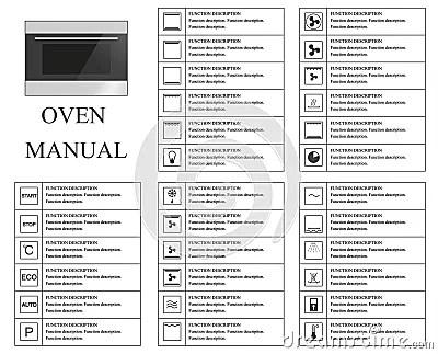 Oven Handsymbolen Instructies Tekens En Symbolen Voor Het