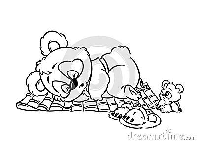 Panda Little Sleeping Coloring Page Stock Illustration