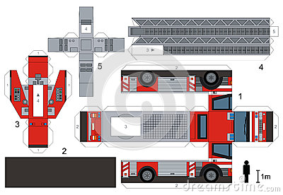 Paper Model Of A Fire Truck Stock Vector  Image 62016550