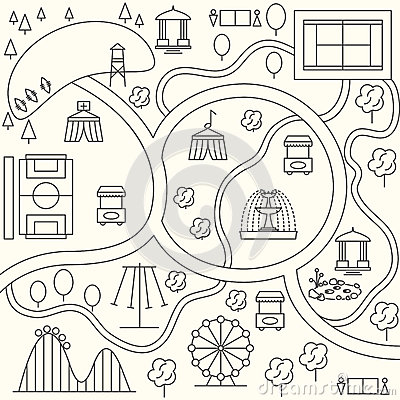 Park Map In Outline Design Style. Vector Stock Vector