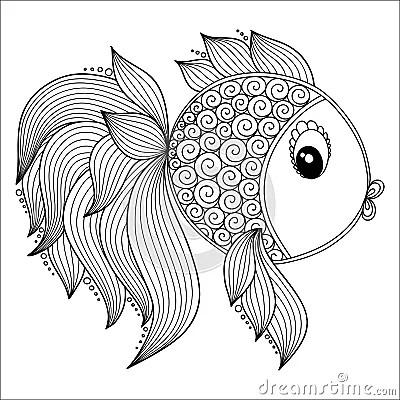 Pattern For Coloring Book. Cute Cartoon Fish. Stock Vector