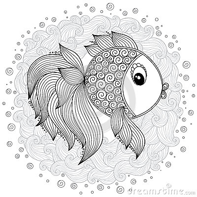 Pattern For Coloring Book. Vector Cute Cartoon Fish. Stock