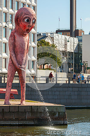 Peeing Red Giant On Embankment In Helsinki Editorial Stock Photo  Image 44593563