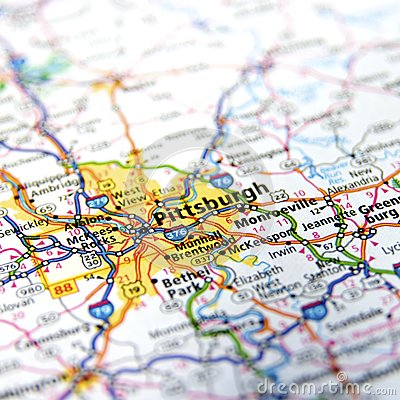 Pennsylvania Highway Map Close Up Stock Photo Image