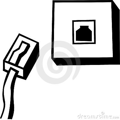 Phone Line Or Ethernet Box And Cable Vector Royalty Free