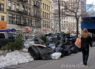 Pile Of Trash On Street In New York City Editorial Stock