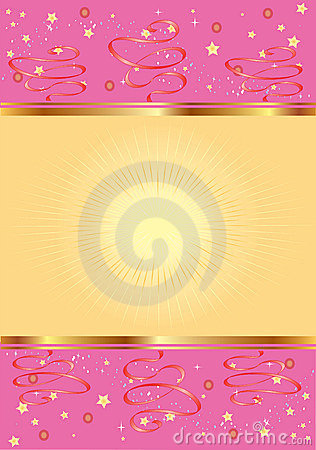 Pink Background With Gold And Stars Stock Photos Image