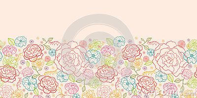 horizontal border pink pattern roses background line seamless ornament flowers vector royalty
