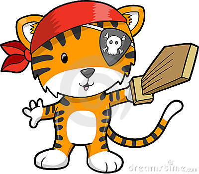 Pirate Tiger Vector Illustration Stock Photography  Image