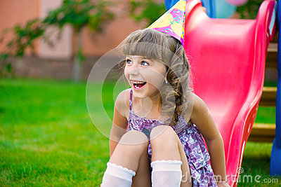 Pretty Little Girl Having Fun On Playground Royalty Free