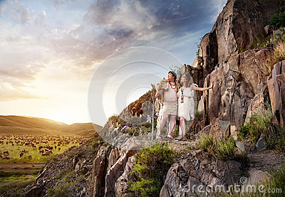 Primitive Man And Woman In Animal Skin Stock Photo  Image 71439051