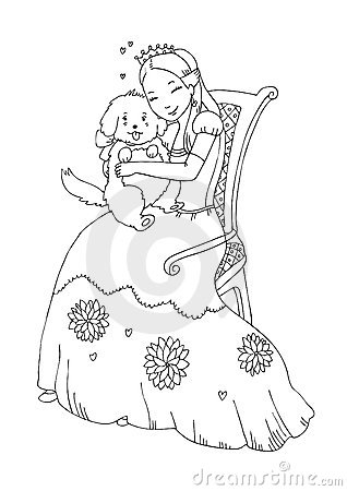 Princess With Dog Coloring Page Royalty Free Stock Photo