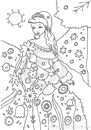 Princess In The Garden Coloring Page Royalty Free Stock