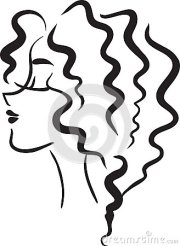 profile girl with wavy hair stock