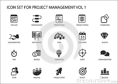 Project Management Icon Set. Various Symbols For Managing
