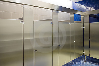 Public Bathroom Stalls All Occupied Royalty Free Stock