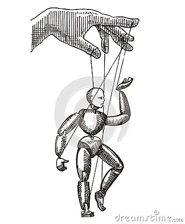 Puppet Vector Logo Design Template. Management Or Stock