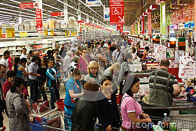 Queue At The Supermarket Editorial Stock Photo Image