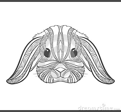 Rabbit Coloring Outlines In Boho Style. Ethnic Hare Stock