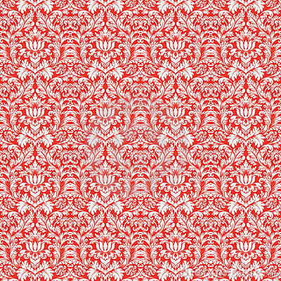 Wallpaper Natal 3d Red Christmas Damask Pattern Seamless Background Stock