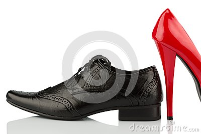 Red high heels and men s shoe