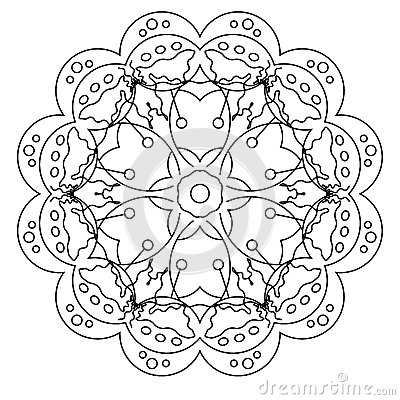 Relaxing Coloring Page With Mandala For Kids And Adults