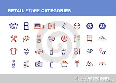 Retail Store Categories Stock Illustration Image 40643128