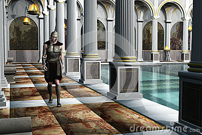 Roman Soldier In Bath House Royalty Free Stock Image
