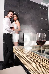 A Romantic Couple In The Living Room Stock Photo - Image ...