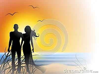 romantic couple sunset beach stock