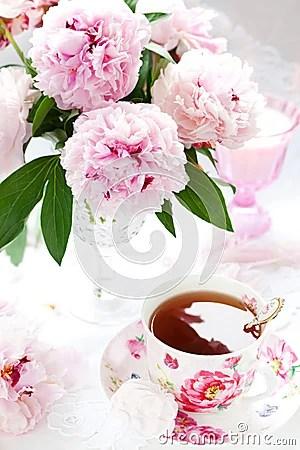 Rosafarbene Pfingstrosen Und Tasse Tee Lizenzfreies